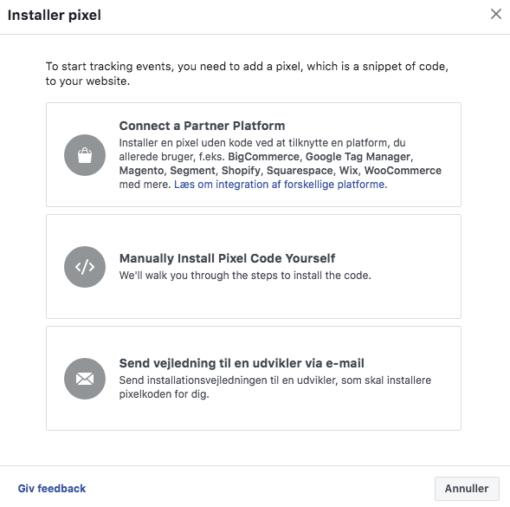 Installering af pixel Facebook