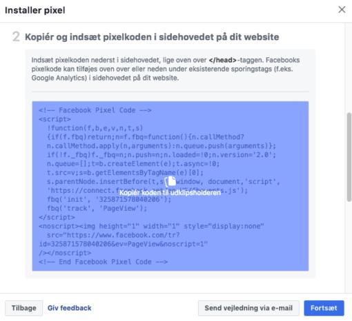 Kopier pixel Facebook kode
