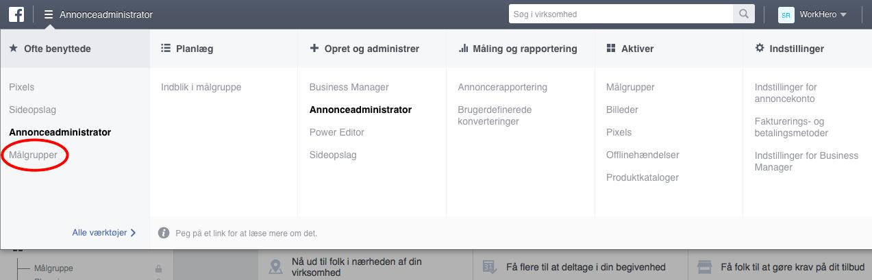 Opret målgrupper baseret på Facebook pixel