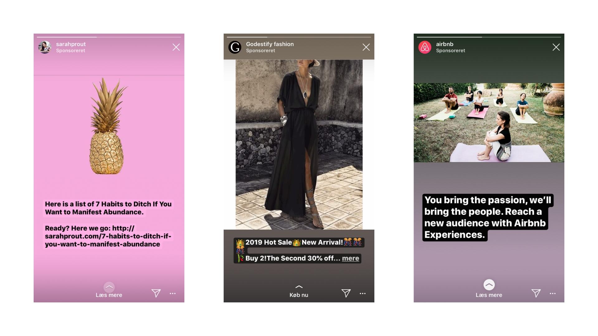 Knapt så heldige annoncer i Instagram Stories